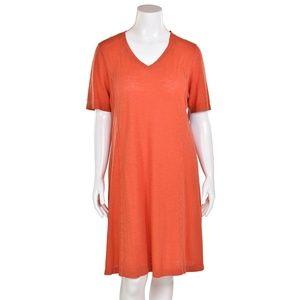 Eileen Fisher Orange Organic Cotton Hemp Dress
